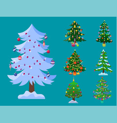 Pine tree cartoon green winter holiday vector