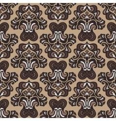Retro seamless pattern damask sepia vector