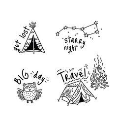 set of cartoon sticker for camping in vector image vector image