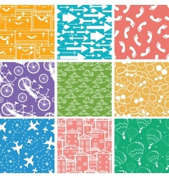 Set of nine seamless patterns backgrounds vector image