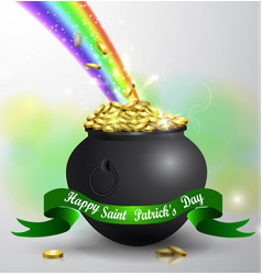 St patricks day green pot with rainbow vector