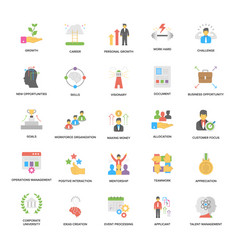 Success and opportunities flat icons set vector