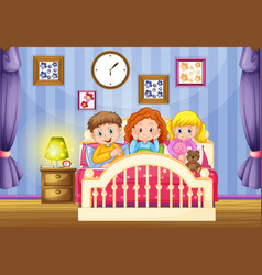 Three kids in pink bed at nighttime vector