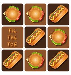 Tic-tac-toe of hot dog and hamburger vector