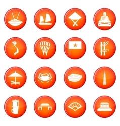 Vietnam travel icons set vector
