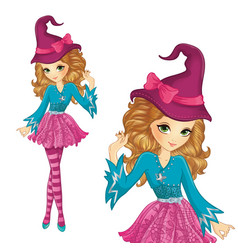 Witch Wearing Pink Hat With Bow vector image