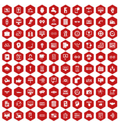 100 interface icons hexagon red vector
