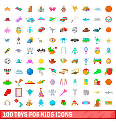 100 toys for kids icons set cartoon style vector image vector image