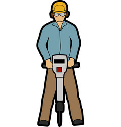 Man with jackhammer vector image