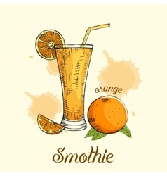Creative orange smoothie in glass with straw vector