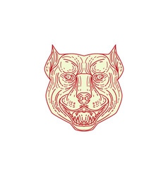 Pitbull Dog Mongrel Head Mono Line vector image
