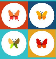 Flat monarch set of butterfly beauty fly danaus vector
