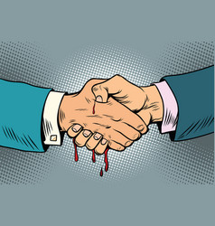 bloody handshake underhanded business transaction vector image