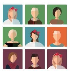short hairstyles female avatar icons set vector image