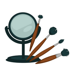 Compact mirror and fluffy brushes for make up set vector