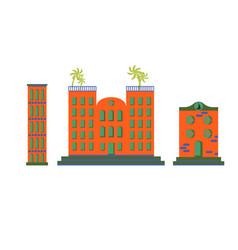Hotel buildings cartoon flat set vector