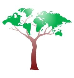 Worldmap on tree vector image