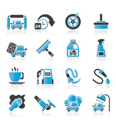 car wash objects and icons vector image
