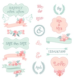Vintage wedding frames and ribbons set vector
