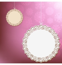 Red lace ornament card  eps8 vector