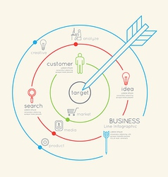Flat linear Infographic Business Target outline vector image