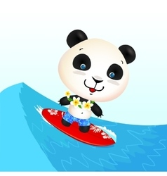 Little cute surfing panda on blue wave vector image