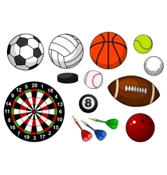 Sport items with balls puck and darts vector