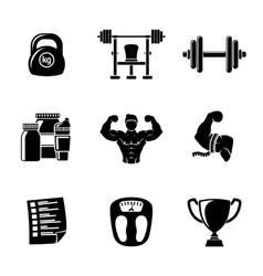 Set of bodybuilding icons with - dumbbell weight vector