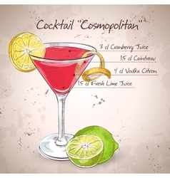 Red cosmopolitan cocktail vector