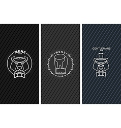 Set of logos for mens club bear and butterfly tie vector