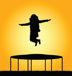 Girl jump in nature vector