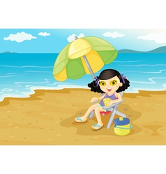 Girl at the beach vector