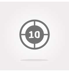 Glass target web icon button isolated on vector