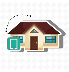 Smart home with smartphone isolated icon design vector