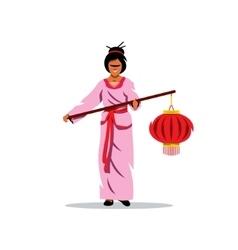Asian Woman with lantern Cartoon vector image