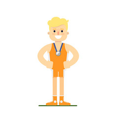 Athlete man winning silver medal vector