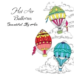 Background with hot air balloons vector
