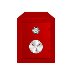 Bank safe in red design with combination lock vector