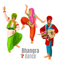 Bhangra dance concept men and woman in national vector