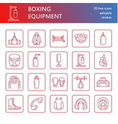 Boxing line icons punchbag boxer gloves vector