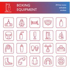 Boxing line icons punchbag boxer gloves vector