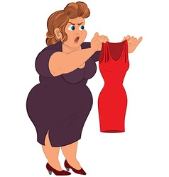 Cartoon fat woman in purple dress holding small vector image vector image