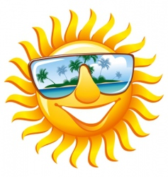 cheerful sun in sunglasses vector image