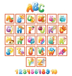 Colorful alphabet for kids with pictures vector