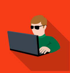 computer hacker icon in flat style isolated on vector image vector image