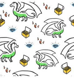 Dragon with treasures and fire vector image vector image