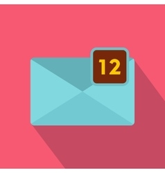 Envelope with twelve messages icon flat style vector image vector image