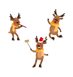 Flat christmas reindeer isolated set vector