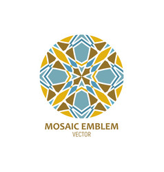 Geometric mosaic round figure flower or religious vector