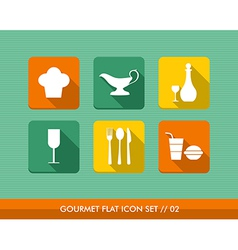 Gourmet flat icons set vector